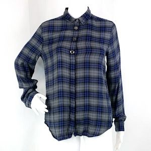 Ann Taylor Plaid Jeweled Button Front Blouse O16